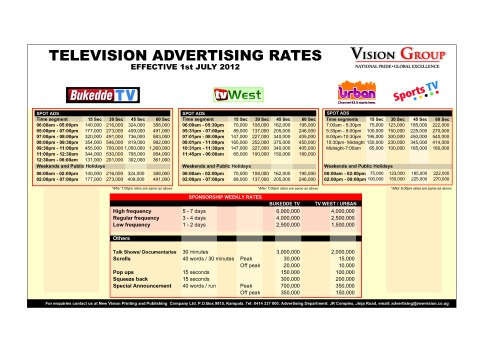 Television  rate card 2012